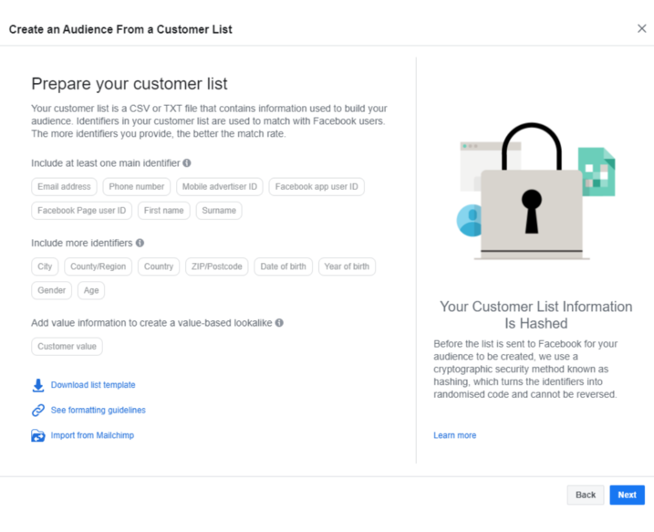 facebook look a like audience based on customer list