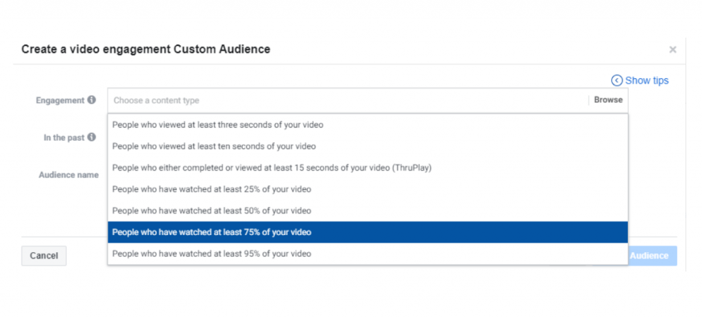 Video engagement custom audience