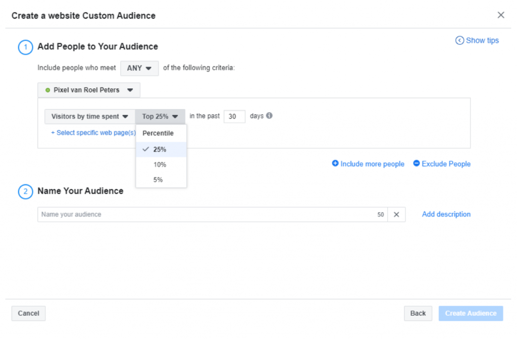 Facebook retargeting visitors by time spent